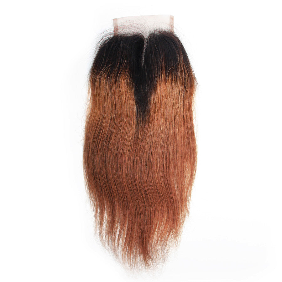 Straight hair closure dark brown 1b/#30 ombre color human hair lace closure
