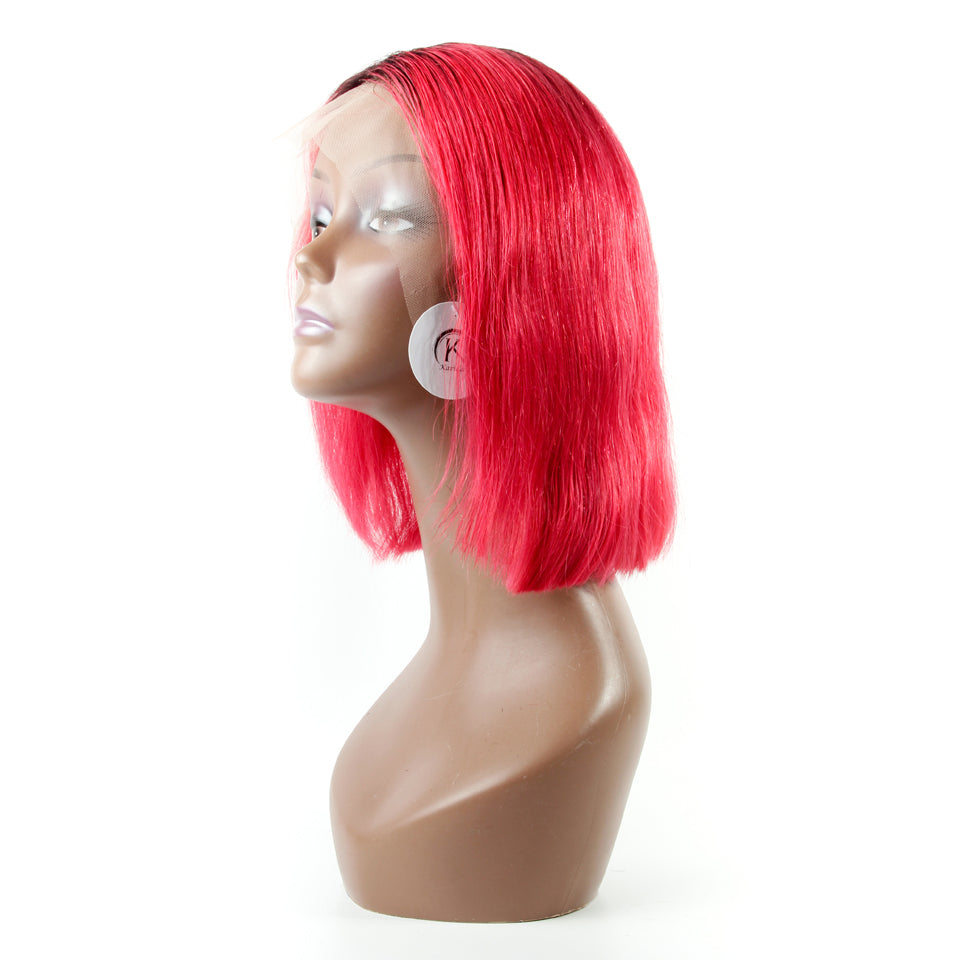 Ombre red colored wigs short bob front lace human hair wigs swiss lace high density