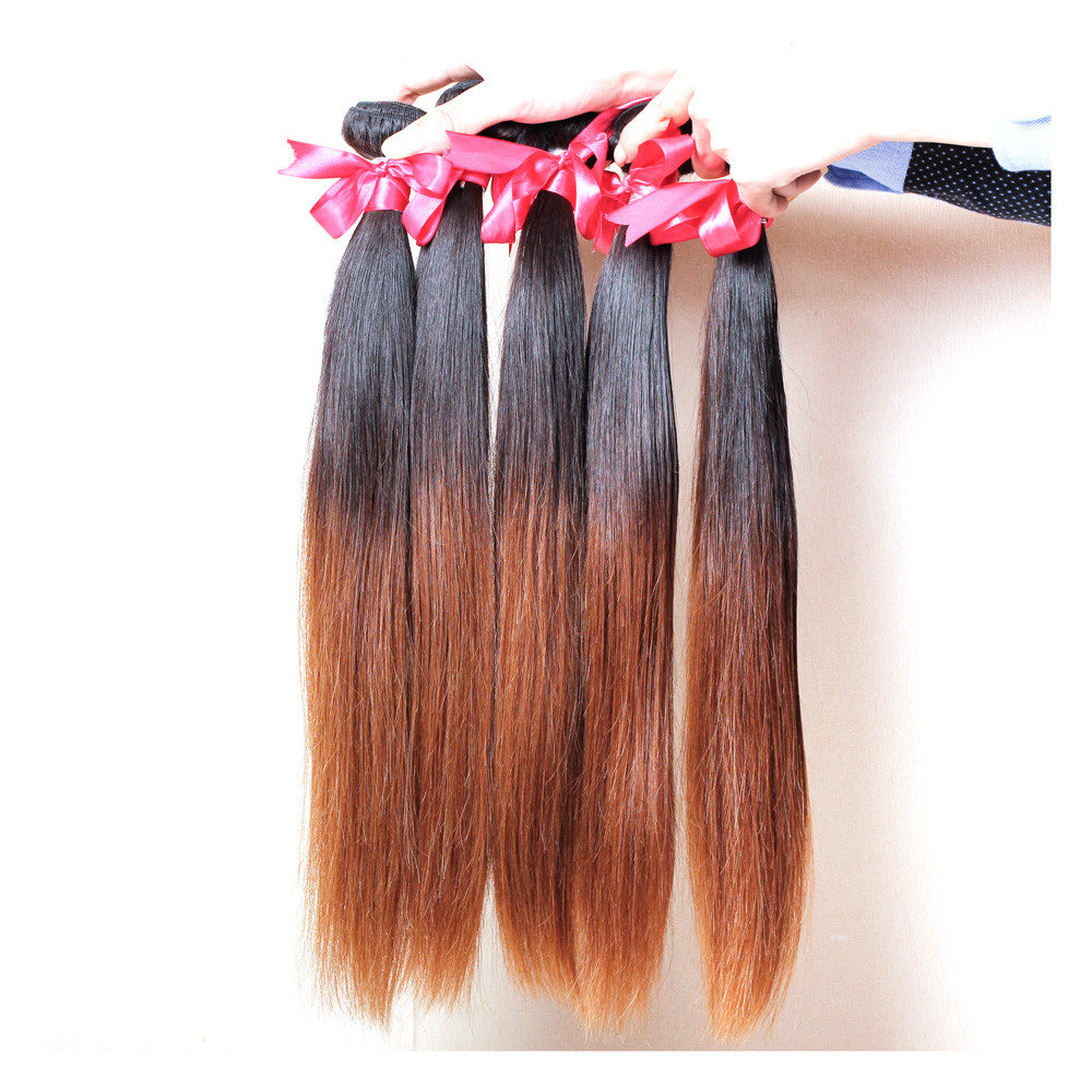 5Bundles straight ombre hair 1b/#30 brown brazilian peruvian ombre hair