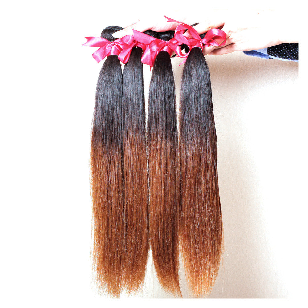 4Bundles straight brazilian human ombre brown hair 1b #30 hair weave