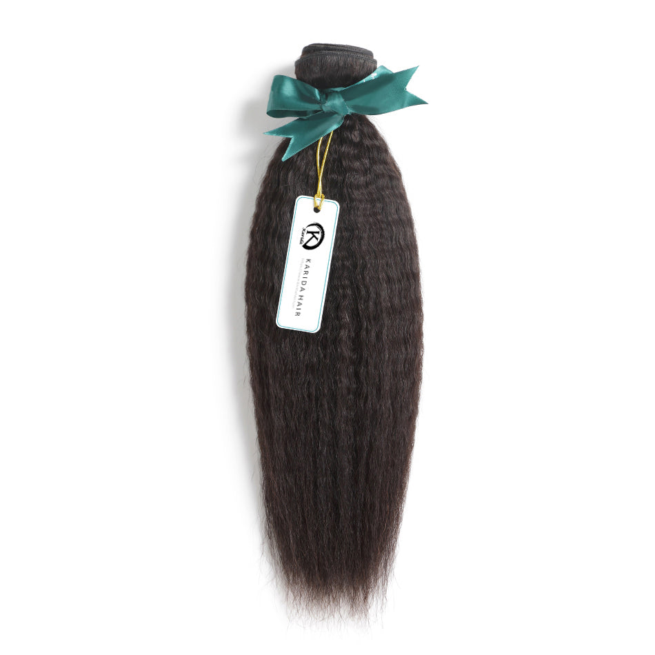 Kinky straight premium bundles one donor hair weft unprocessed natural color