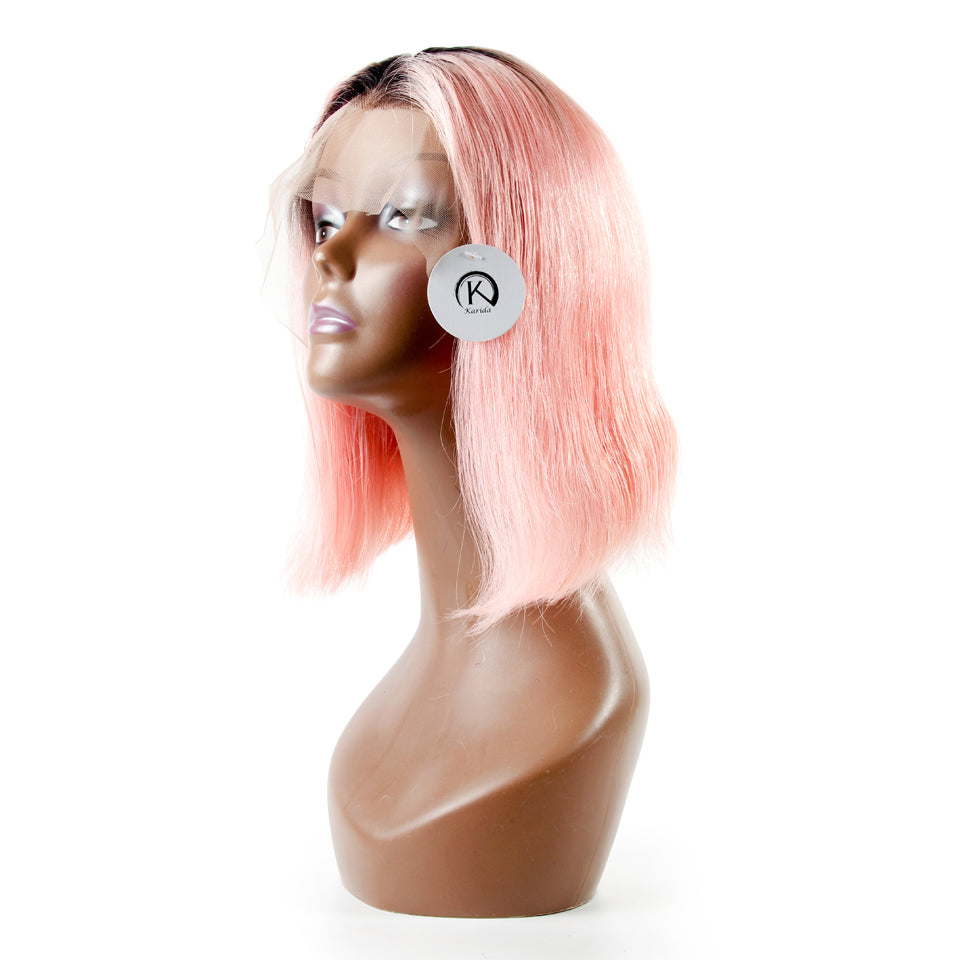 Pink Ombre with 1B dark root full and thick human hair wigs front lace straight