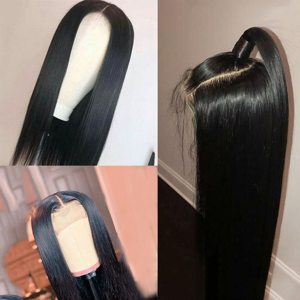 Pre plucked high density straight hair lace closure frontal wigs human hair natural color