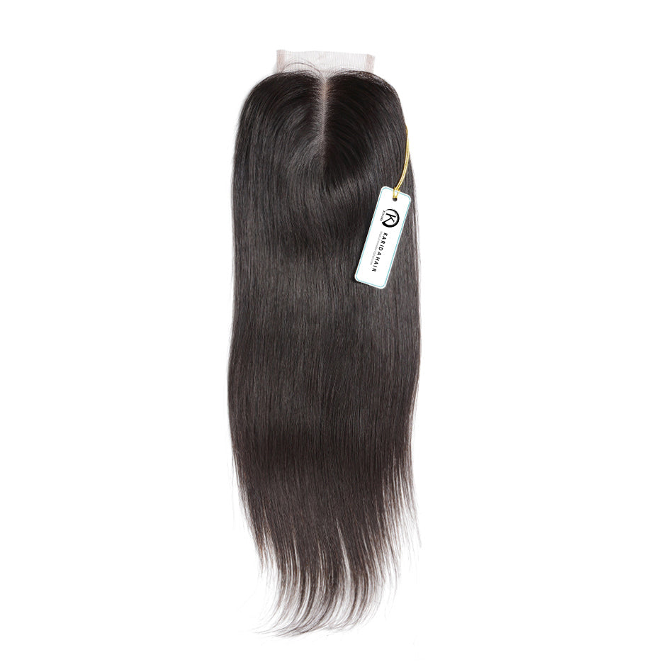 Premium straight hair lace closure 4X4inch natural color unprocessed hair closure