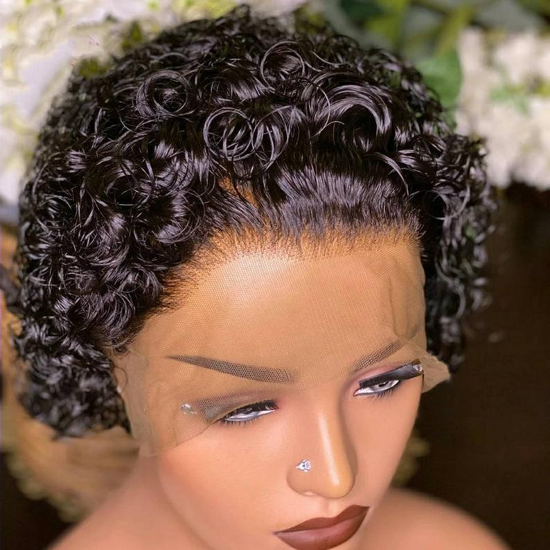 Short pixie cut curly wig raw hair 180% density curly lace front human hair curly free shipping