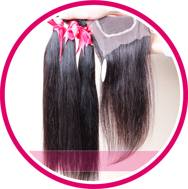 Straight remy hair bundles with closure 100% human hair weft natural color