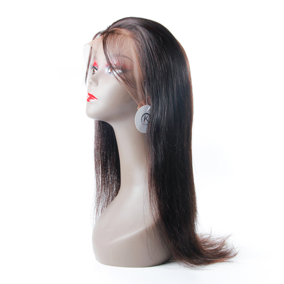 Straight 360 lace wig virgin human hair wigs natural color for black women