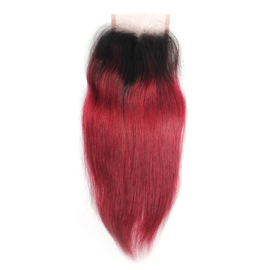 Straight closure burgundy ombre 1B/#530 lace closure 100% human hair closure