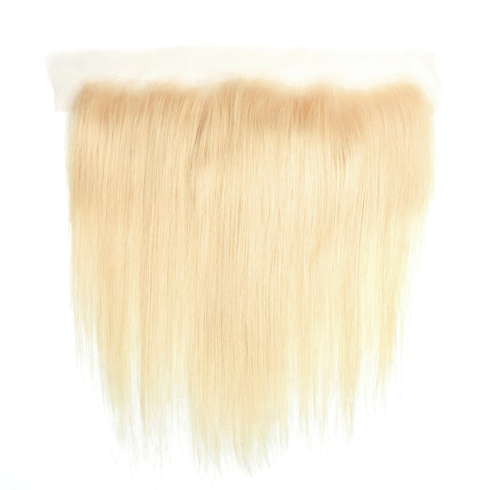 Straight blonde donor hair frontal 13x4inch 613 color transparent lace blonde frontal