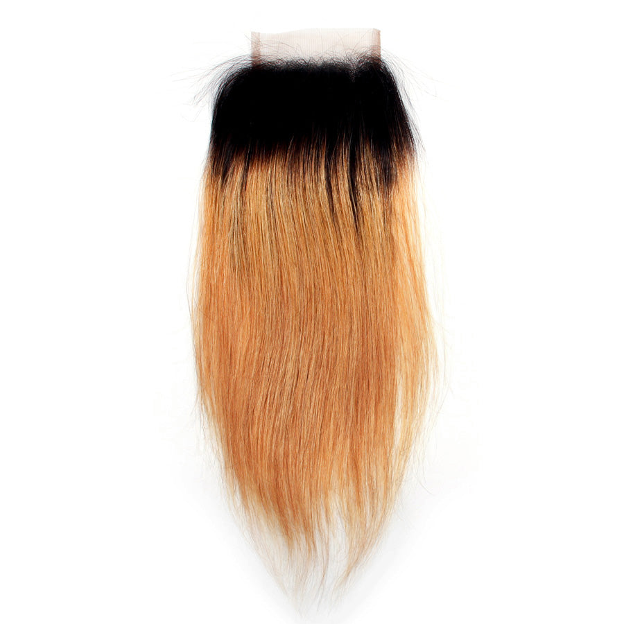Straight hair ombre lace closure 1b/#27 brazilian Honey blonde color closure