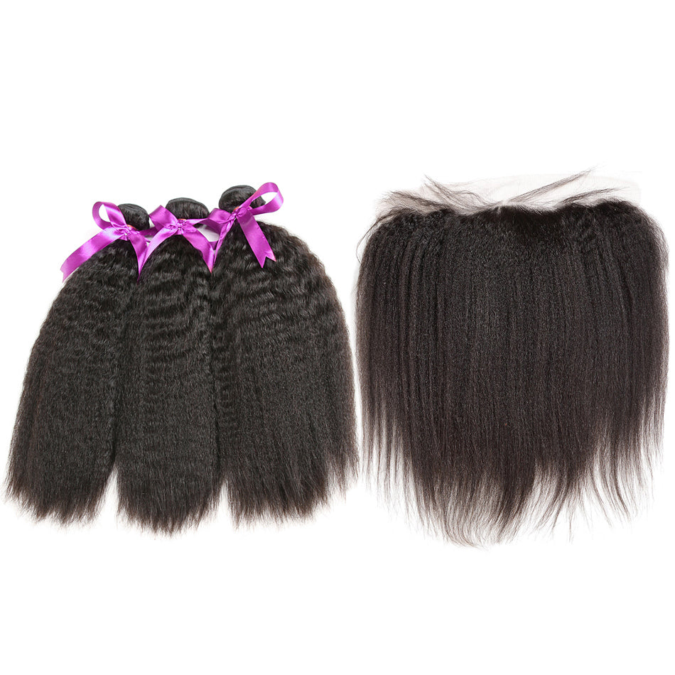 Bundles with lace frontal kinky straight human hair unprocessed brazilian virgin hair