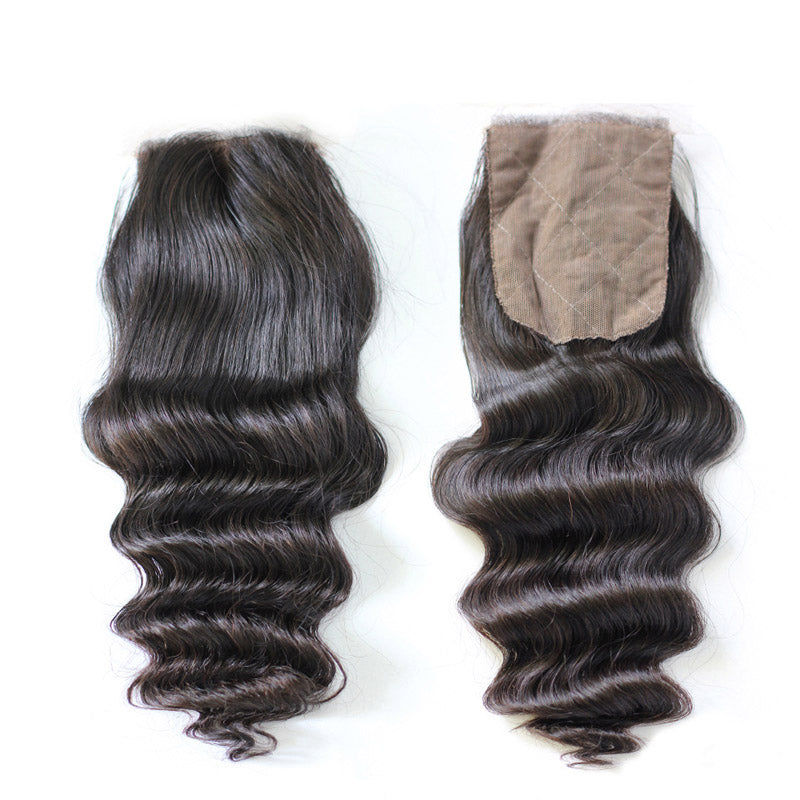 Loose wave silk base closure 4x4inch lace size swiss lace double knots closure