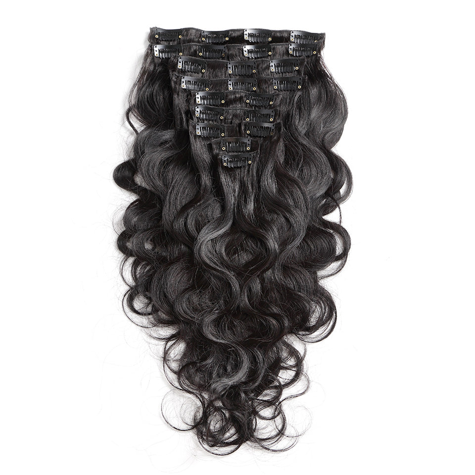 140G clip in extensions brazilian body wave virgin human hair 10piece/set