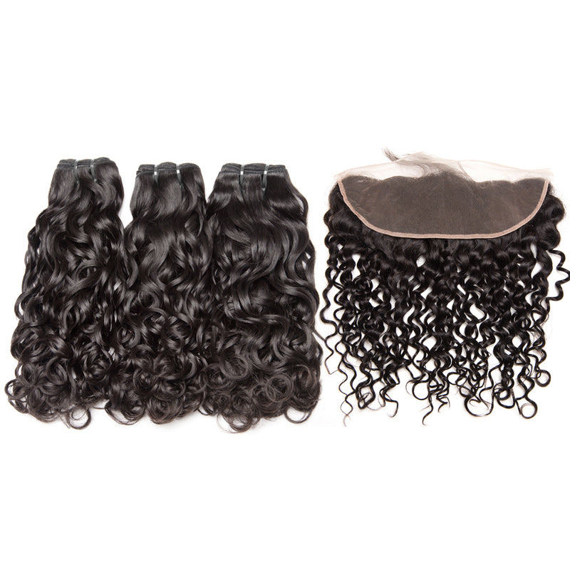 Water wave human virgin hair 3bundles with frontals pre-plucked baby hair around