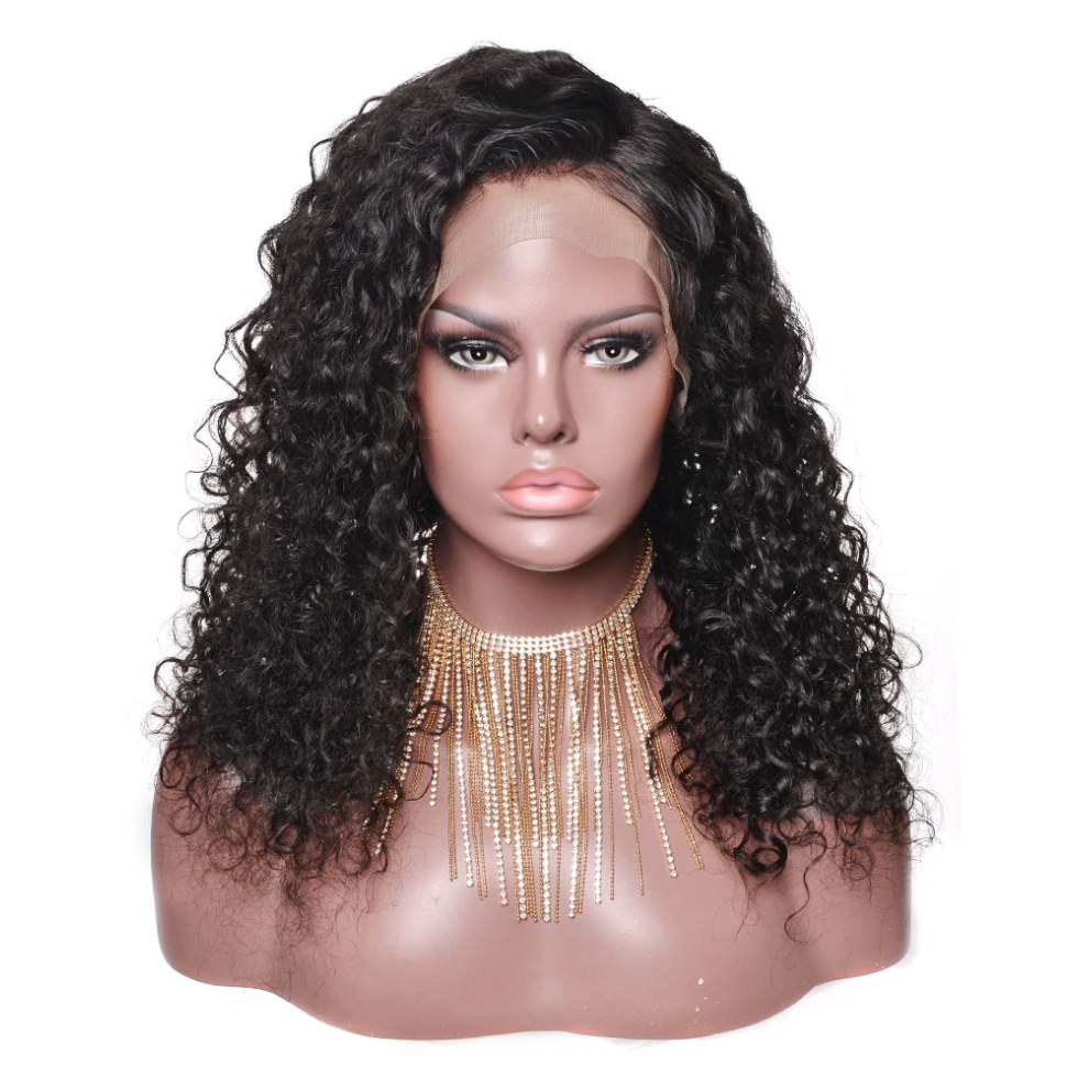 Full lace wig water wave brazilian human hair wig natural color hair line pre plucked