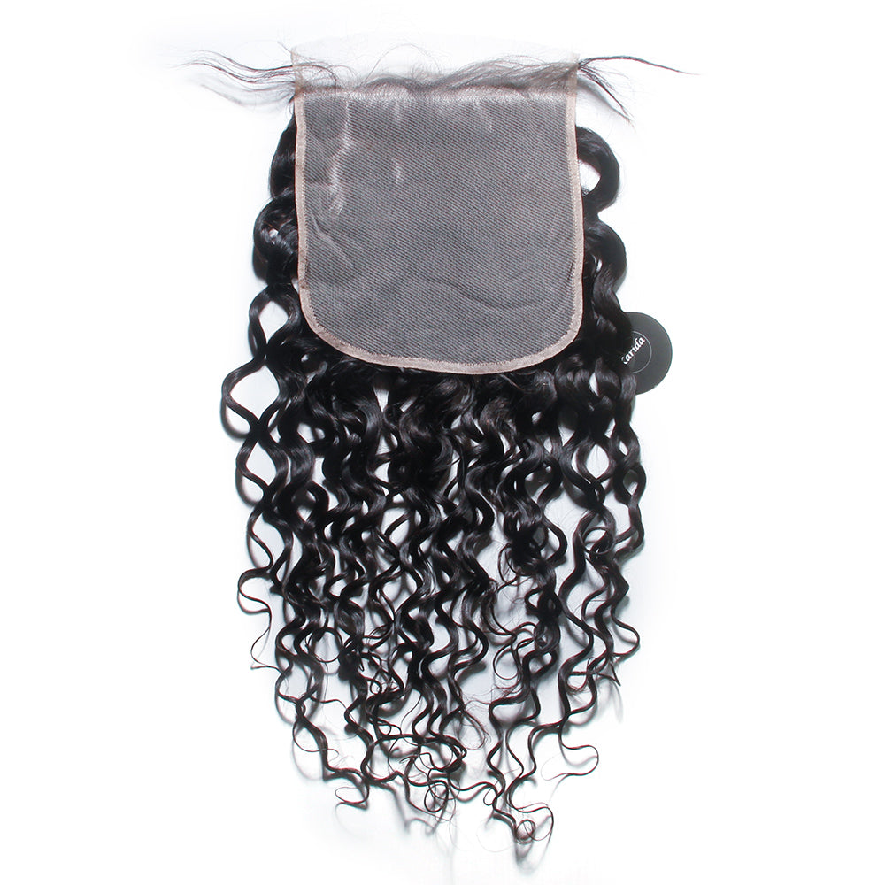 Water wave 7X7inch pre-plucked virgin hair closure transparent lace 8-20inch wholesale