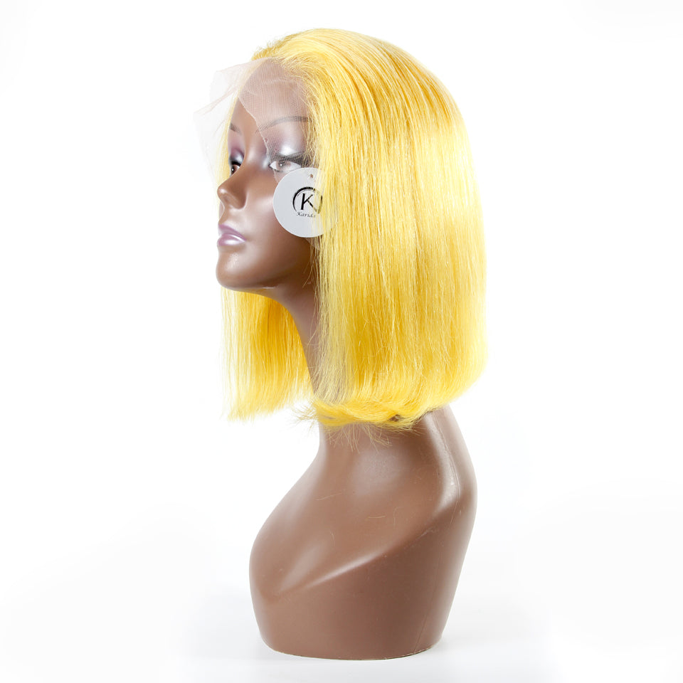 Yellow lace front wigs BOB straight 180% density human hair lace wigs Karida hair