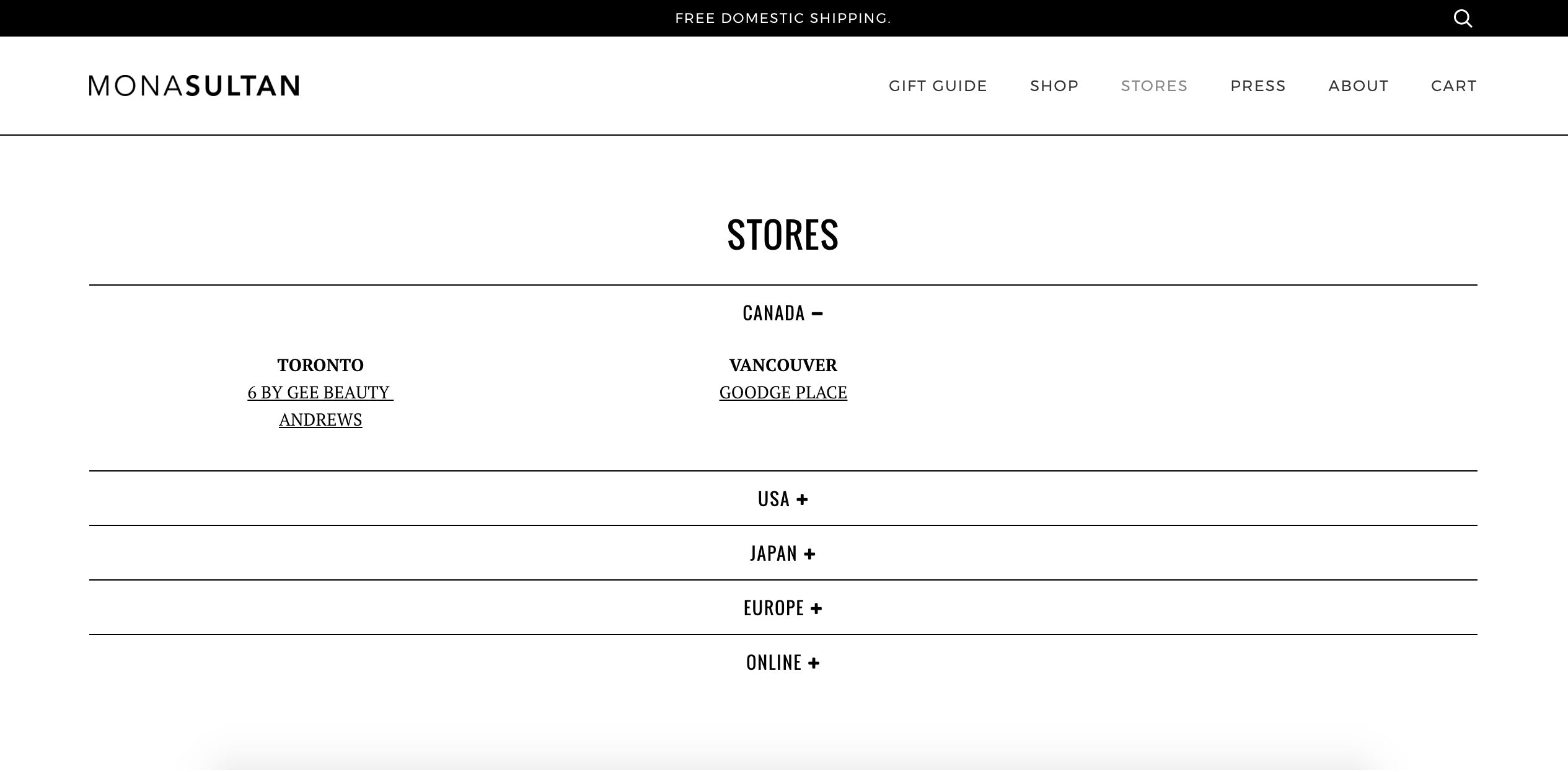 Stockists Landing Page