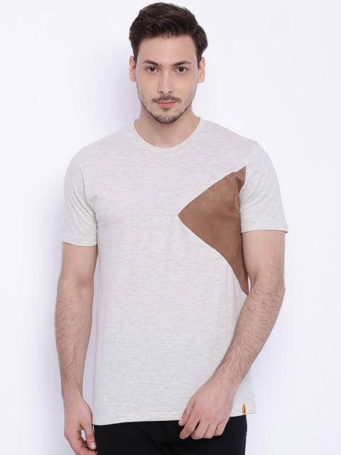 Daneaxon Cream Round Neck T-shirt