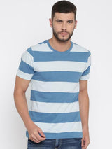 Daneaxon Blue & White Striped T-shirt