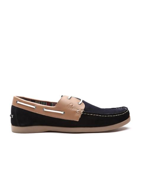 Fastalas Black & Beige Colourblocked Suede Boat Shoes