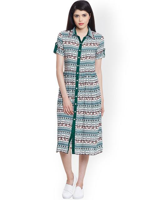 Rosyalps Green Printed Shirt Dress