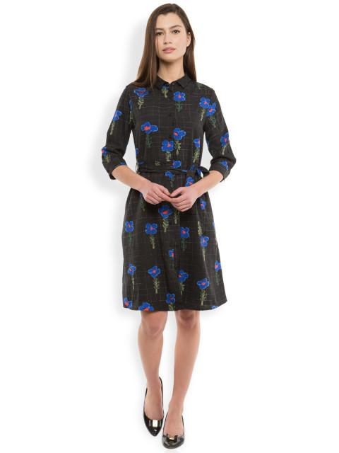 Rosyalps Black Printed Shirt Dress