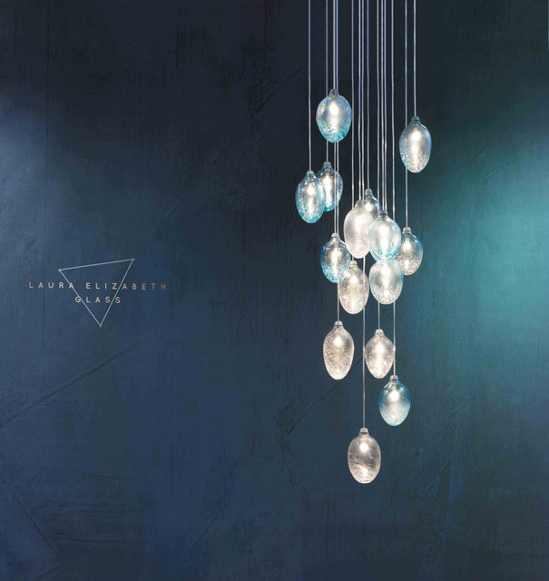Cascade chandelier, blown glass with inclusions of copper and silver