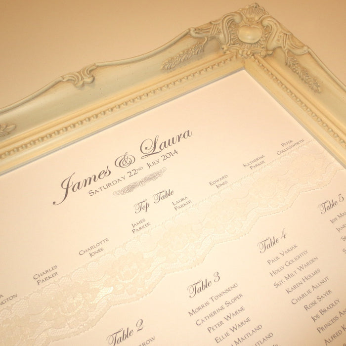 CHANTILLY Table Seating Plan | Wedding Stationery | CeremonialsUK.com