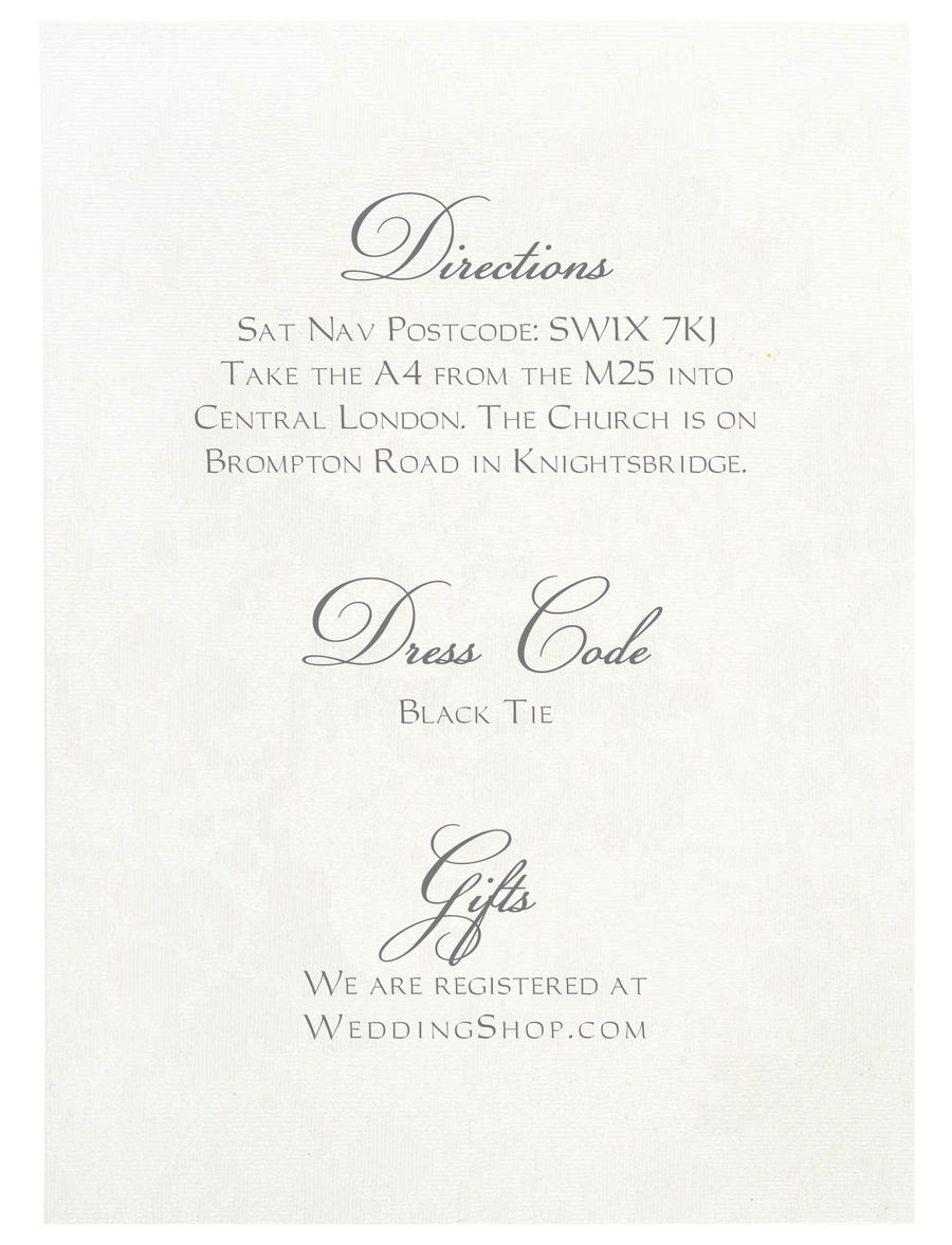 Information Card | Wedding Stationery | CeremonialsUK.com