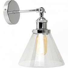 Lloyd Chrome Wall Light with Conical Glass Coolie Shade-Wall Lights-Smart Lighting World
