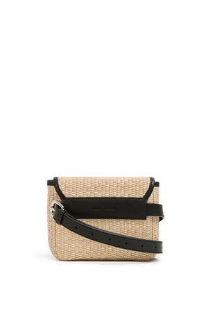 RAFFIA CROSSBODY BAG BLACK