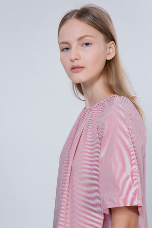TULIP SHIRT - RED STRIPES