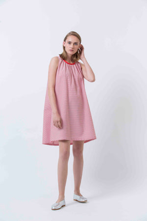 CHERRIES DRESS - RED STRIPE