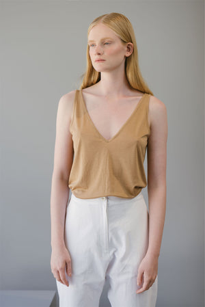 V NECK TOP - BRONZE