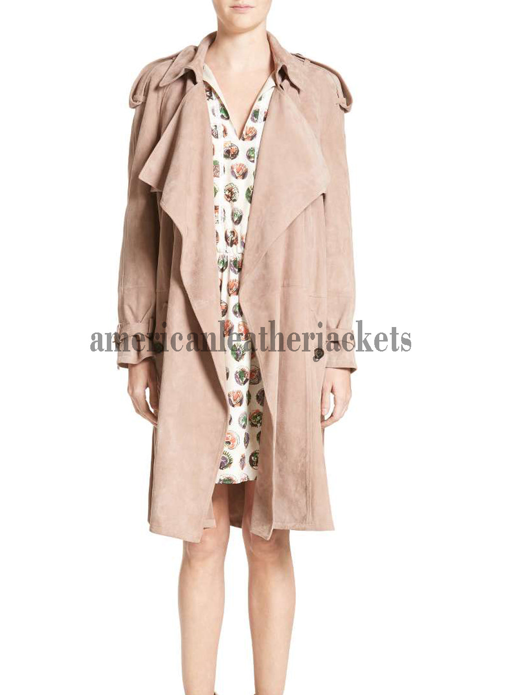 Suede Wrap Trench Coat for Women