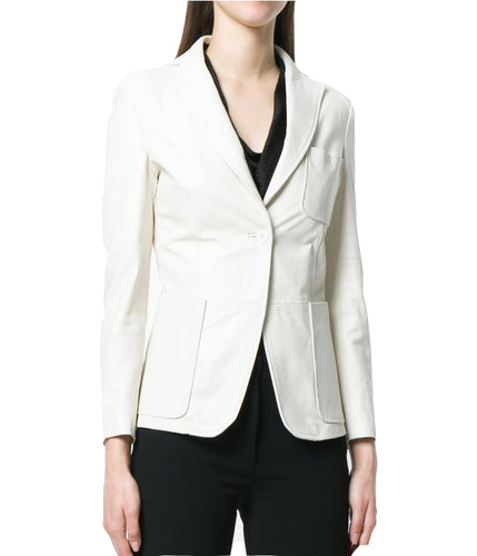 CORPORATE STYLE WHITE LEATHER BLAZER