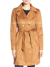 Double Breasted Suede Leather Coat For Women