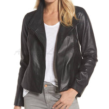 Women Front Zip Cropped Leather Jacket