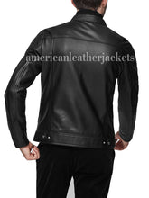 STAND COLLAR MEN ZIPPER BIKER LEATHER JACKET