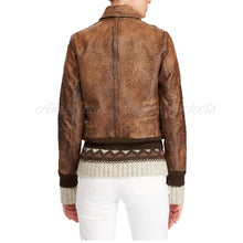 Distress Leather Women Bomber Jacket