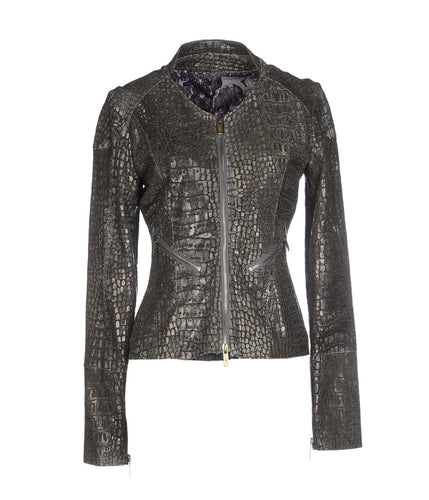 CROCODILE PRINT LEATHER BLAZER
