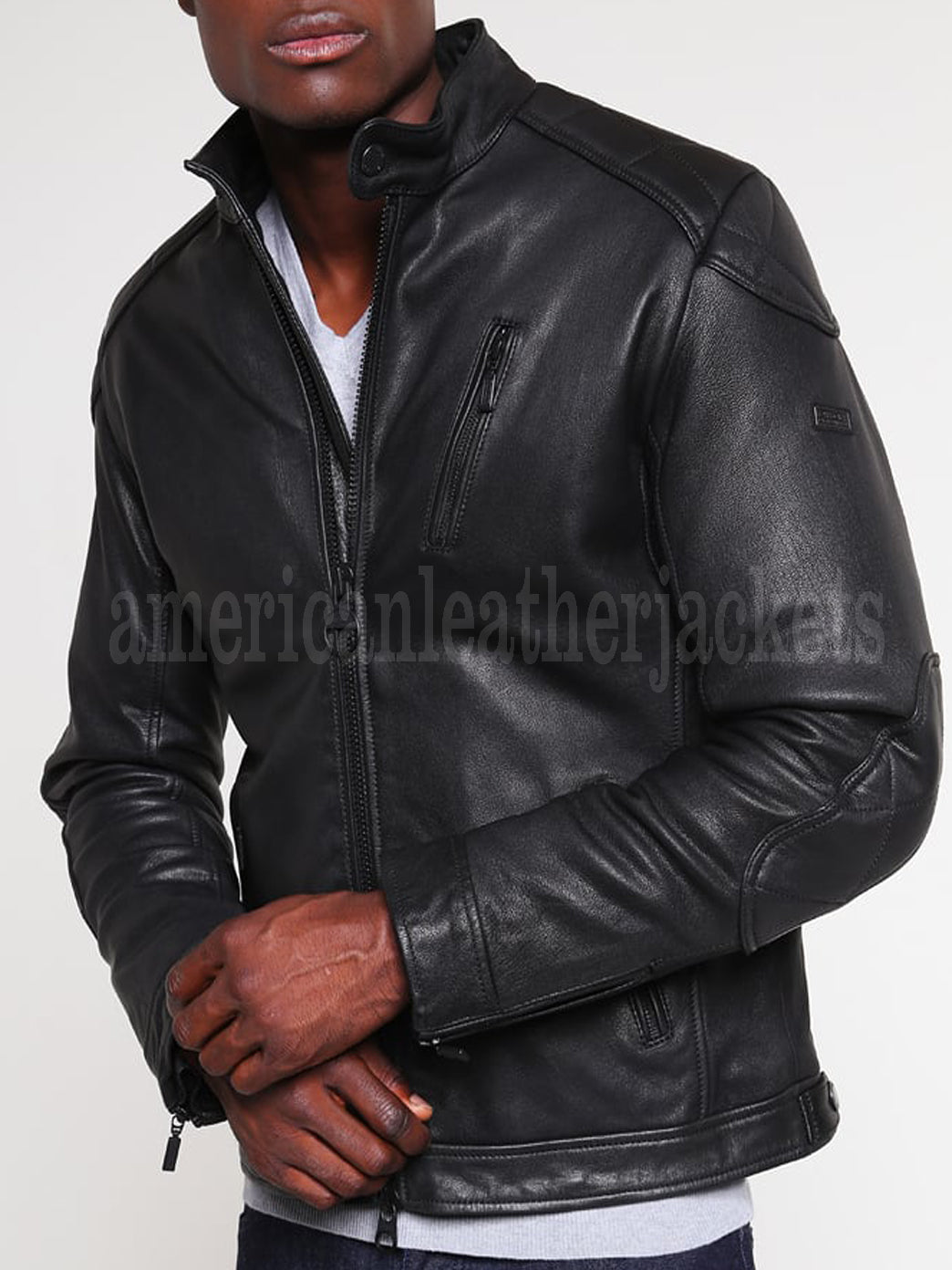 Stand Collar Men Biker Leather Jacket