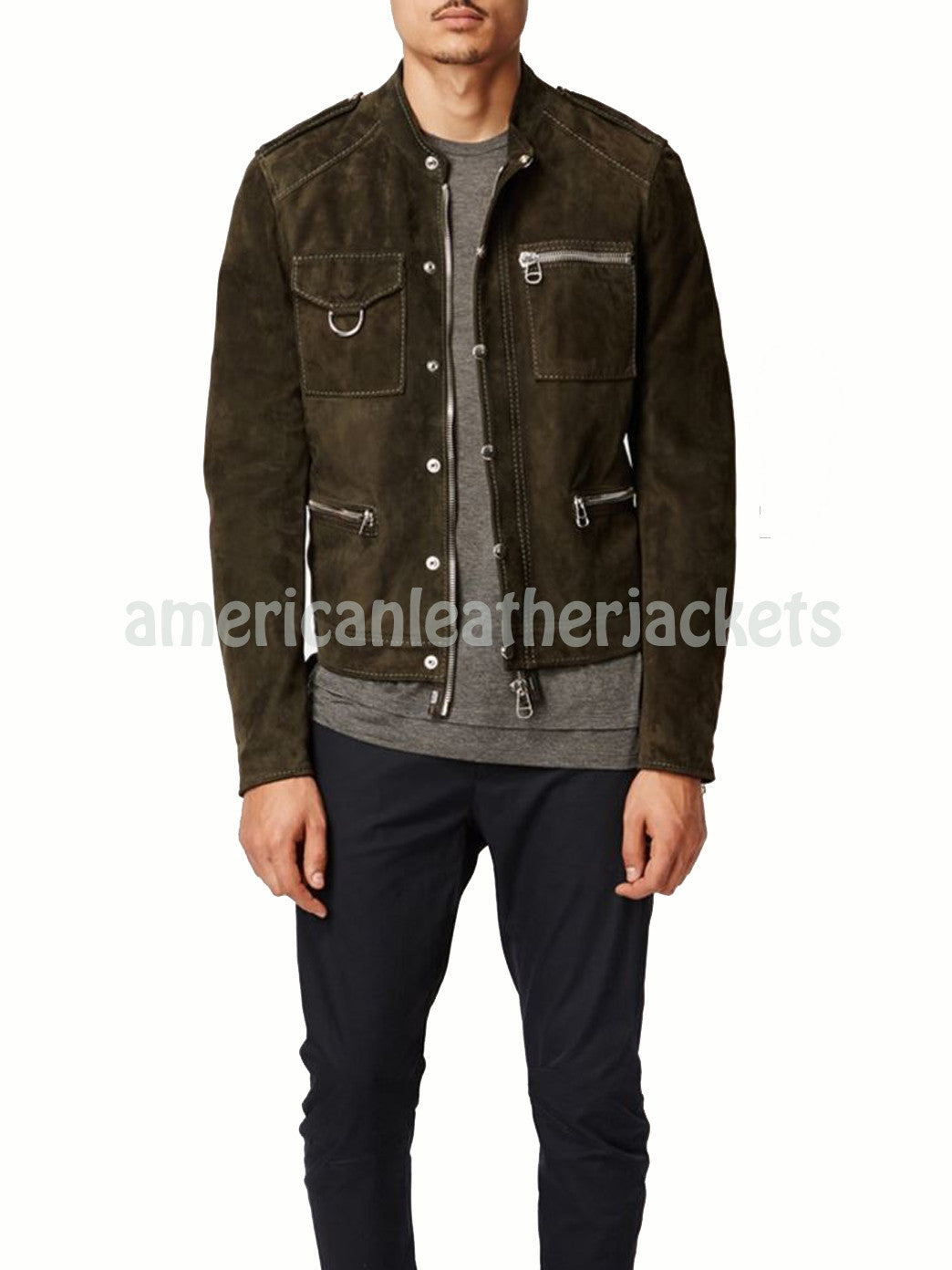 Shirt Styled Men Suede Leather Biker Jacket