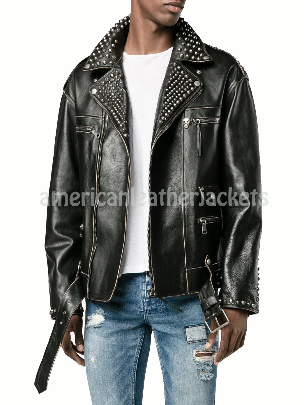 Trendy Studded Puppy Embroidered Men Leather Motorcycle Jacket