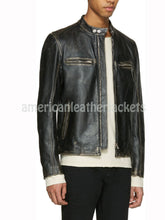 Elegant Men Biker Distressed Leather Jacket