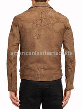Suede Men Motorcycle Distressed Leather Jacket