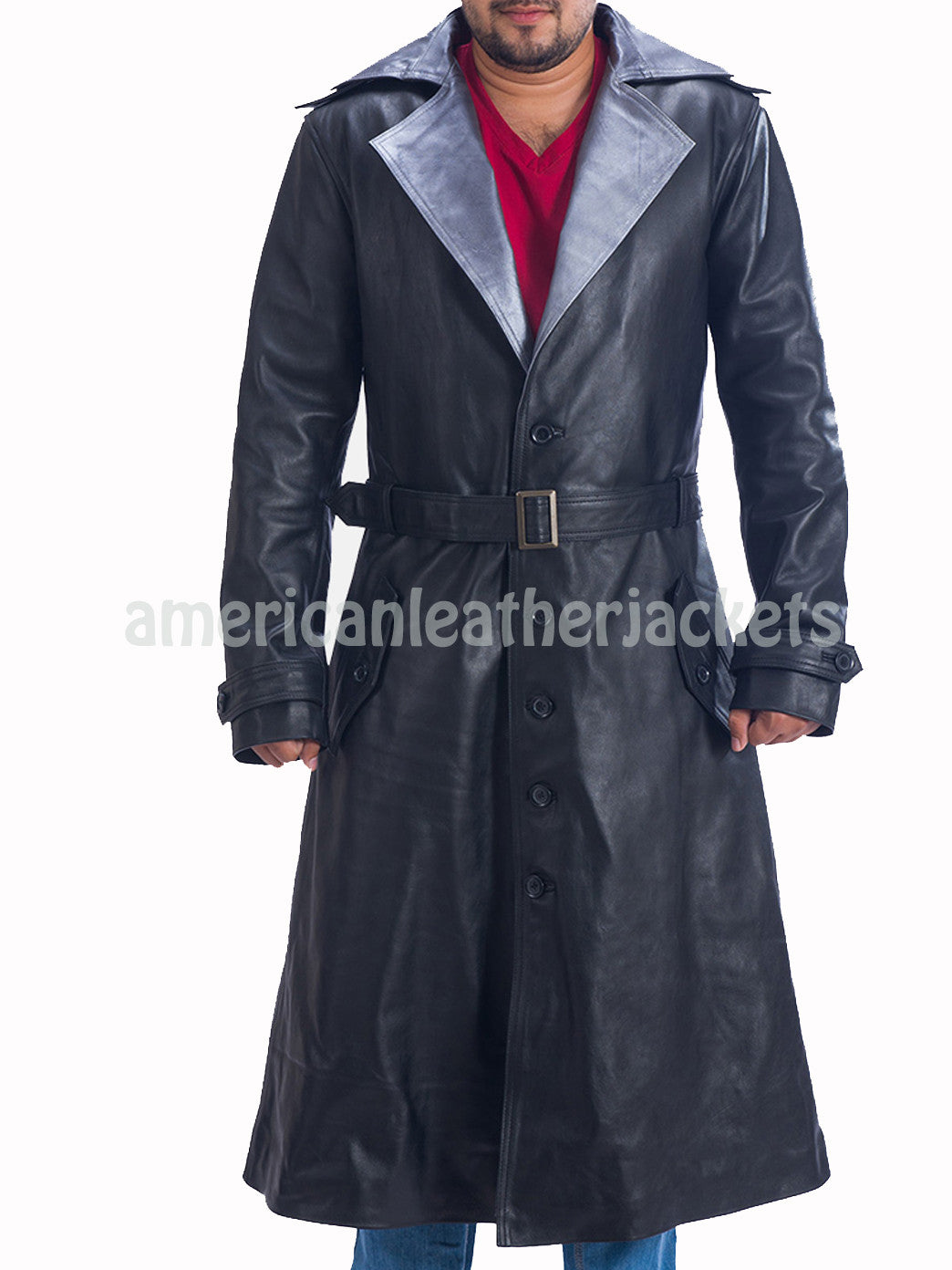 Notch Collar Men Leather Trench Coat