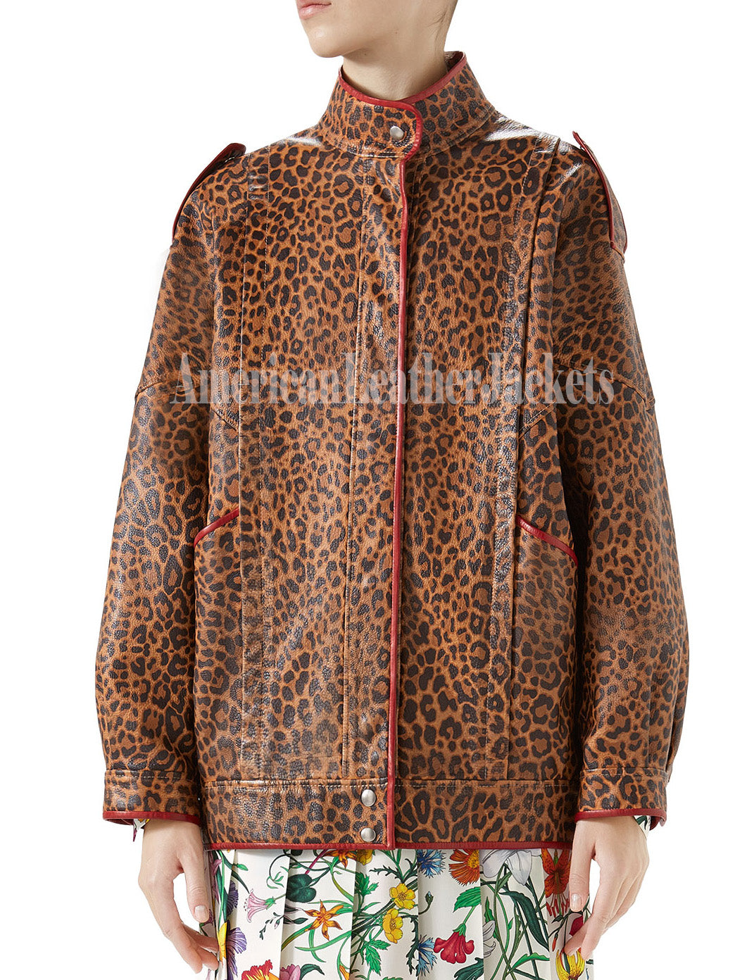 Leopard-Print Leather Women Jacket