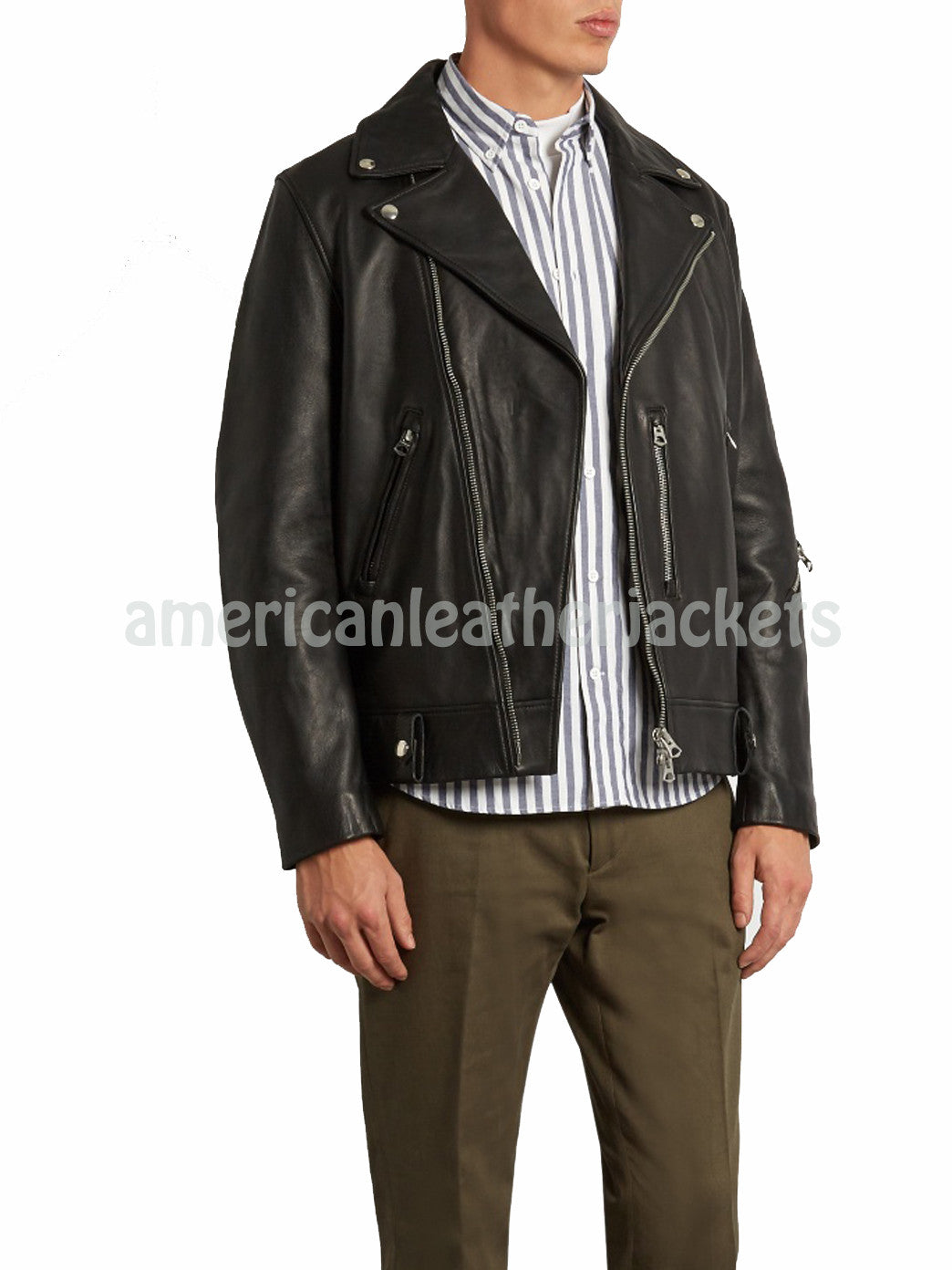 Notch Collar Men Leather Motorcycle Jacket